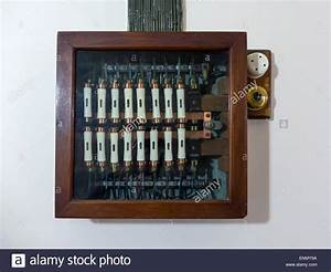 Early 20th Century Electrical Fuse Box Wooden With A Glass