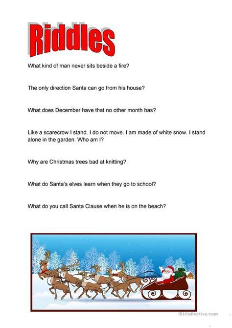 christmas riddles worksheet  esl printable
