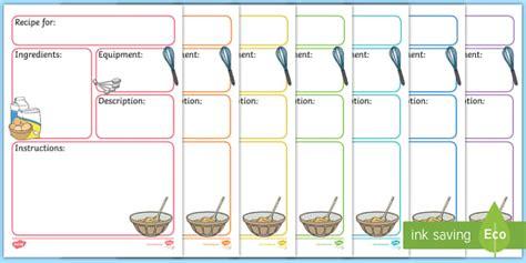 recipe card templates cooking  baking activities