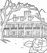 Coloring Houses Plantations Line Drawing Netart sketch template