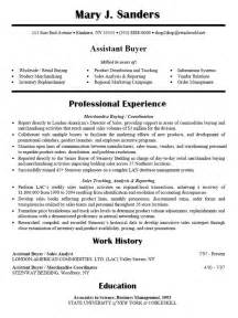 Resume Sample For Assistant Buyer Career Research