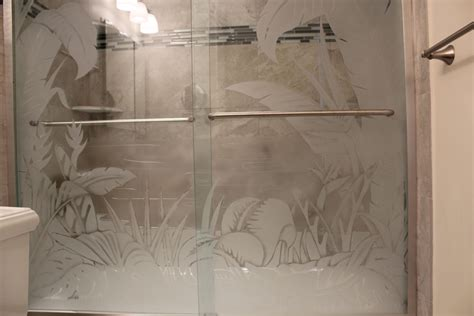 frosted shower doors etched glass shower doors