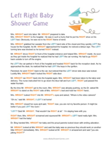 Left Right Story For Baby Shower printable left right baby shower story