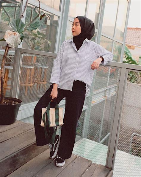 gaya ootd hijab simple  trendi  cocok dipakai