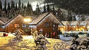 Christmas Log Cabin Wallpaper