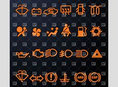 Set of simple illuminated car dashboard icons Vector Image