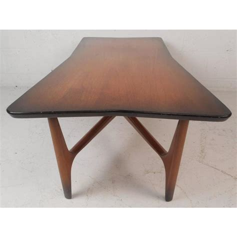 """Top will need a good clean & polish. Unique Mid-Century Modern """"X"""" Base Coffee Table 