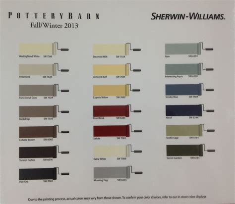 sherwin williams pottery barn paint colors fall