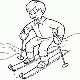 Coloring Skiing Kid Learn sketch template