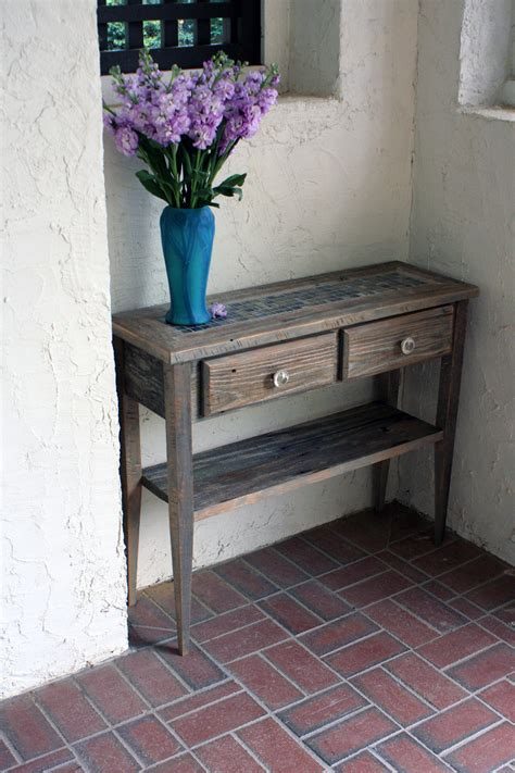rustic wood entry table rustic style foyer makeover with small natural wood entry