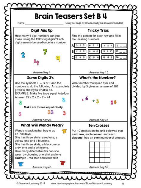 worksheet brain teaser worksheets kindergarten math brain