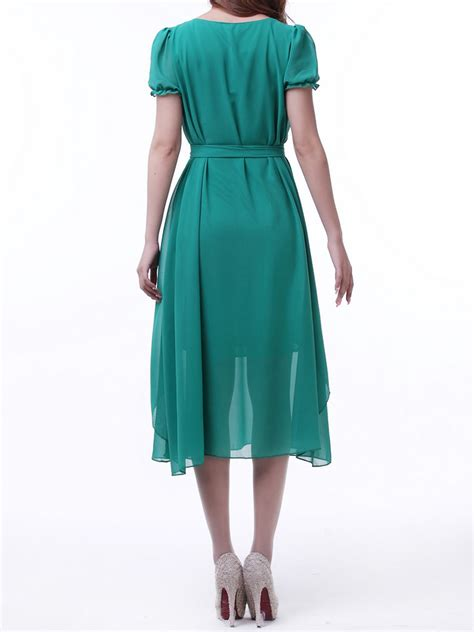 tie waist plain midi dress green ruffle midi dress with bow tie waist