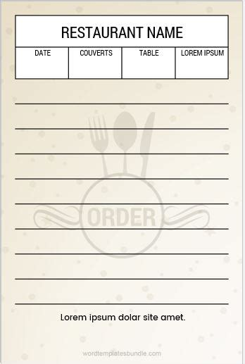 restaurant order pad templates  ms word formal word