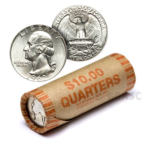 how many quarters are in a roll top 28 quarter rolls 1932 washington quarter roll 40ct average circulated buy 90 silver