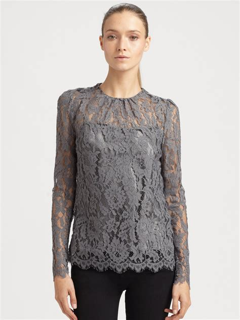blouses and dresses milly lace top in gray grey lyst