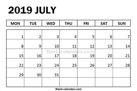 blank july calendar  monday start august calendar