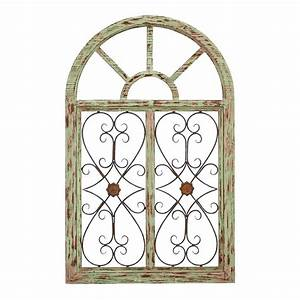 Shop woodland imports 29 in w x 46 in h frameless wood for Kitchen cabinets lowes with garden gate wall art