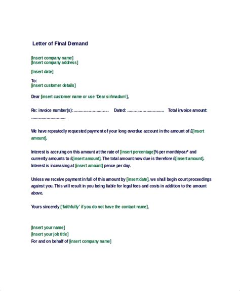 sample demand letter  documents   word