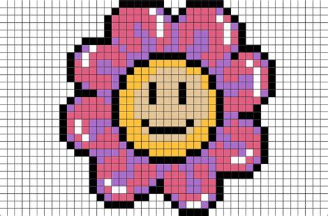 smiley face flower pixel art brik