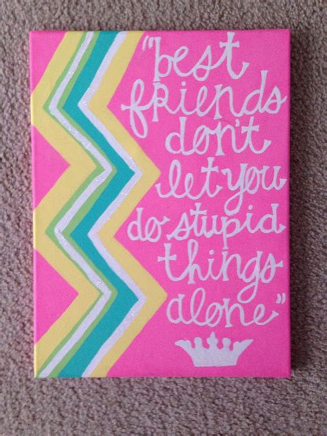 for best friend quote best friends quote canvas painted with colorful chevron Canvas