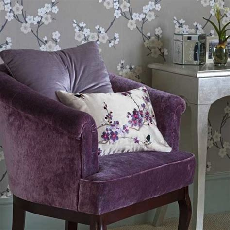 Purple Chairs For Bedroom bedroom chair purple lavender silver leaf table eclectic