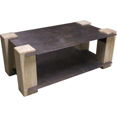 table basse metal vieilli et bois iron