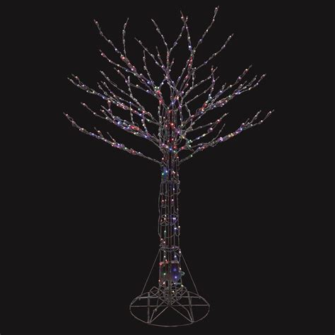6 ft pre lit led deciduous tree sculpture with color