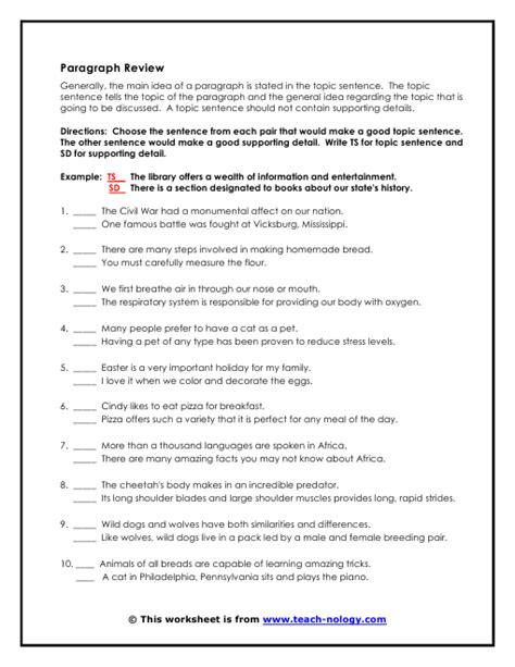 topic sentences for paragraphs