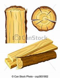 Vector Illustration of wooden material wood and board