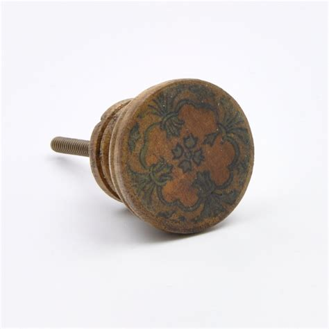 wooden knobs for kitchen cabinets vintage patterned wooden knob pull handle for cupboards 1962