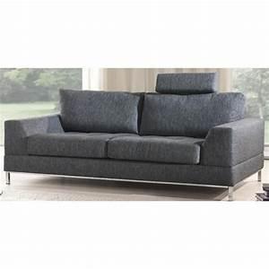Canapé 3 Places Gris : canap 3 places dagar n3 en tissus gris achat vente canap sofa divan tissu coton lin ~ Teatrodelosmanantiales.com Idées de Décoration