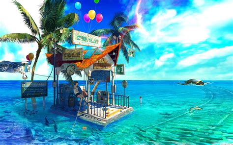 Animated Scenery Wallpapers - anime sea scenery free wallpaper hd 65273 anime scenery