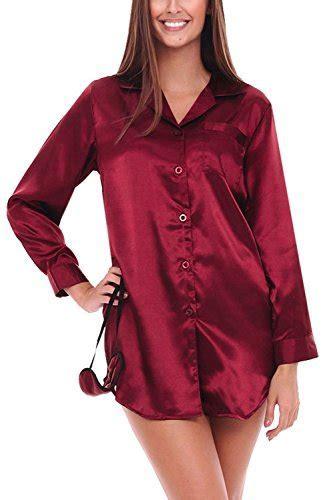 Del Rossa Womens Satin Nightshirt, Boyfriend Style