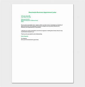 business appointment letter template 13 samples formats With reschedule meeting email template
