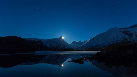 mountain moon reflection behind hd wallpapers 4k ultra