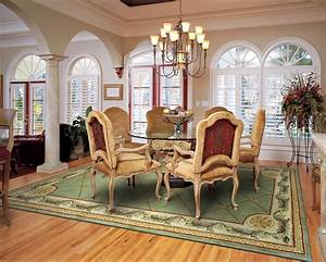 The best size for your dining room rug rug home for Dining room rugs size under table