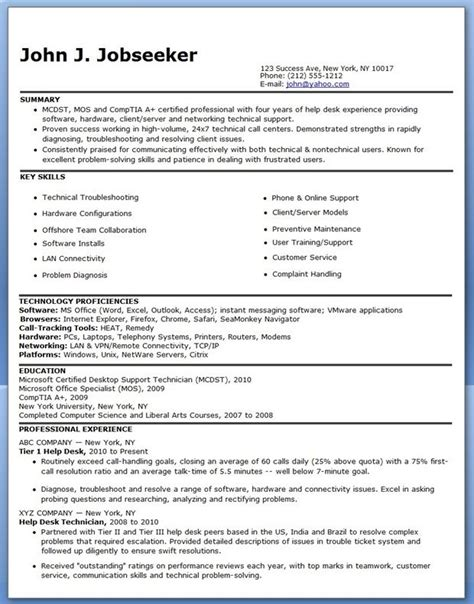 Help Resumes For Free by It Help Desk Resume Sle Creative Resume Design