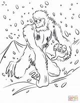 Yeti Coloring Pages Bigfoot Printable Running Unicorn Supercoloring Dot Categories Drawing sketch template
