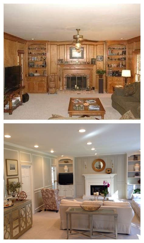 Living Room Before and After. Paneling painted, updated