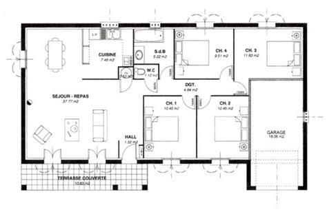 Plan De Maison 100m2 Plain Pied 90m2 Avec Garage Luxe 3