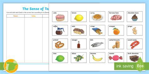 sense  taste cut  stick worksheet teacher