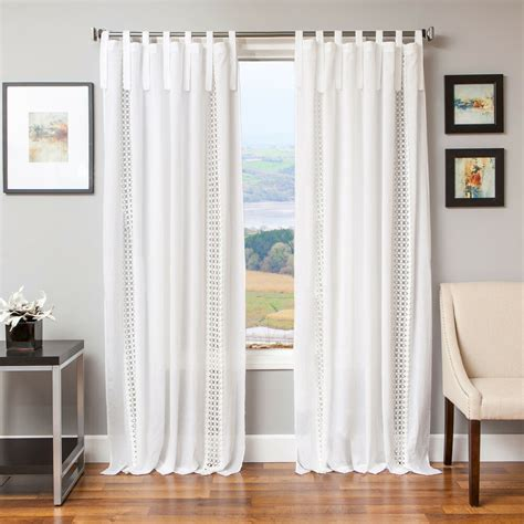 Tab Drapes - softline tie tab cotton and linen macrame curtain panel ebay