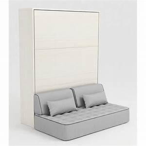 Armoire Lit Escamotable STONE 160x200 Blanc Canap Achat