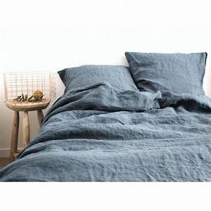 Housse De Couette En Lin : housse de couette en lin lave bleu gris stone washed 240x220cm ~ Melissatoandfro.com Idées de Décoration