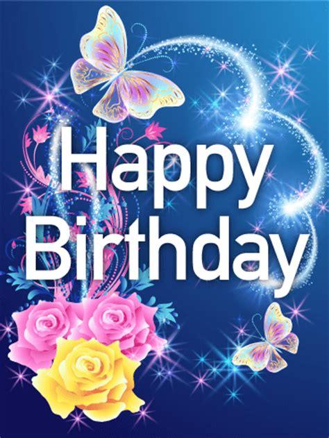 shining rose butterfly happy birthday card birthday