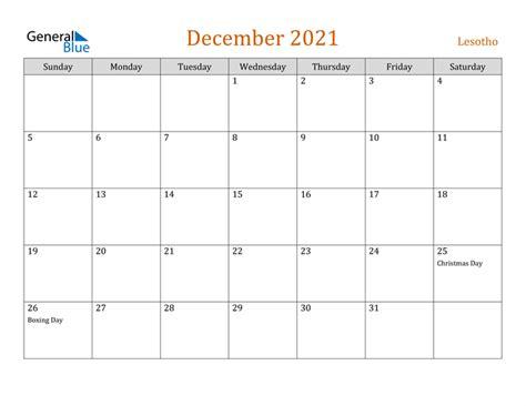 December 2021 Calendar Editable