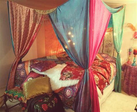 hippie canopy boho bed canopy gypsy hippie hippy india sari scarves bedroom