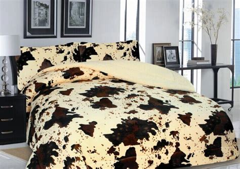 Cowhide Bedding Sets by 3 Western Rodeo Cowhide Print Design Borrego Fleece