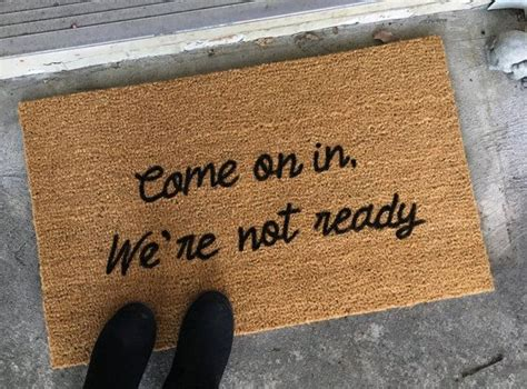 college doormats come on in we re not ready custom doormat welcome