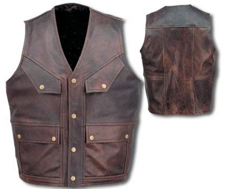 Mens Retro Brown 5 Pocket Premium Leather Motorcycle Biker